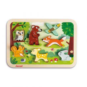 houten puzzel bosdieren