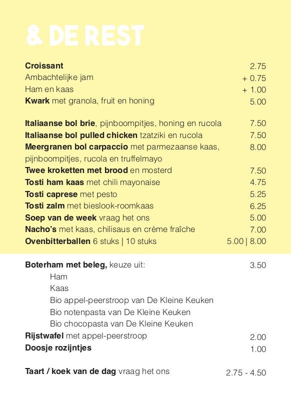 menukaart kersvers ontbijt en lunch