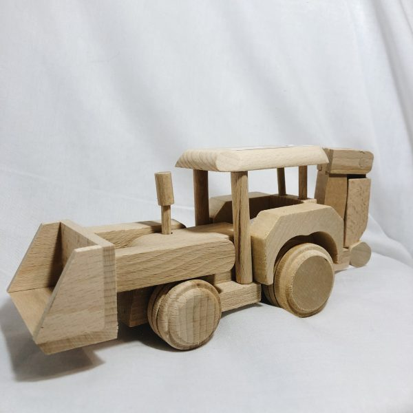 Houten speelgoed graafmachine